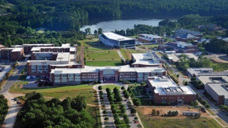Aerial view of NCSU campus